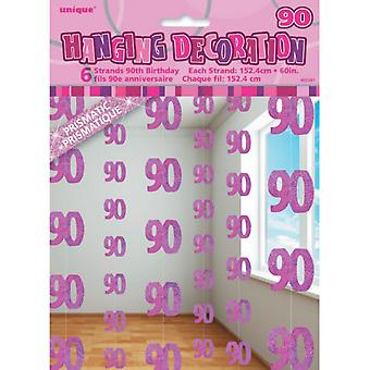 Unique Party Pink 90th Birthday/Anniversary Hanging String Decorations