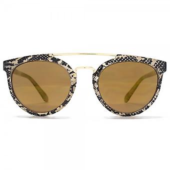 Miss KG Metal Bridge Round Sunglasses In Snake Print