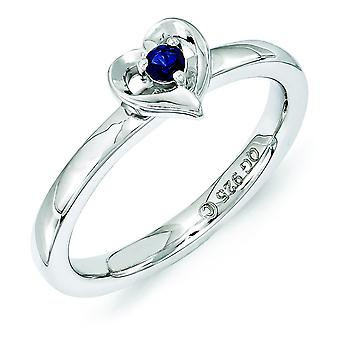 2.25mm Sterling Silver Polished Prong set Rhodium-plated Stackable Expressions Created Sapphire Heart Ring - Ring Size: