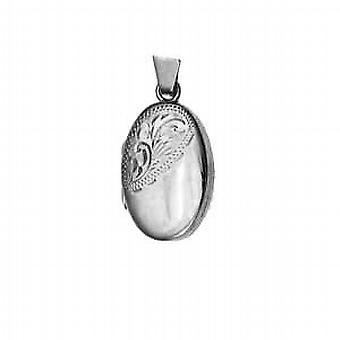 Silver 22x15mm half hand engraved oval Locket