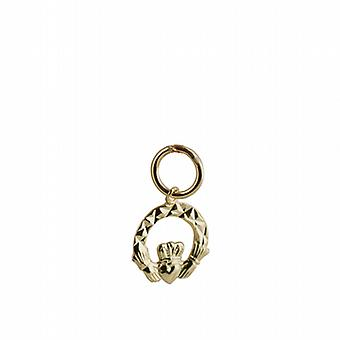 9ct Gold 10x10mm diamant geslepen Claddagh Charm