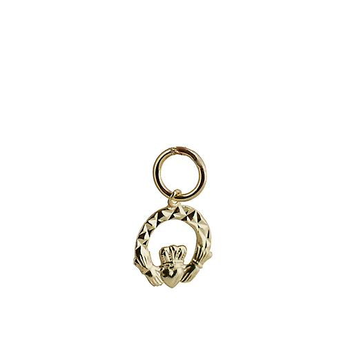 9ct Gold 10x10mm diamond cut Claddagh Charm