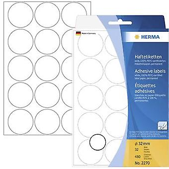 Herma 2270 Labels (hand writable) Ø 32 mm Paper White 480 pc(s) Permanent Sticky dots