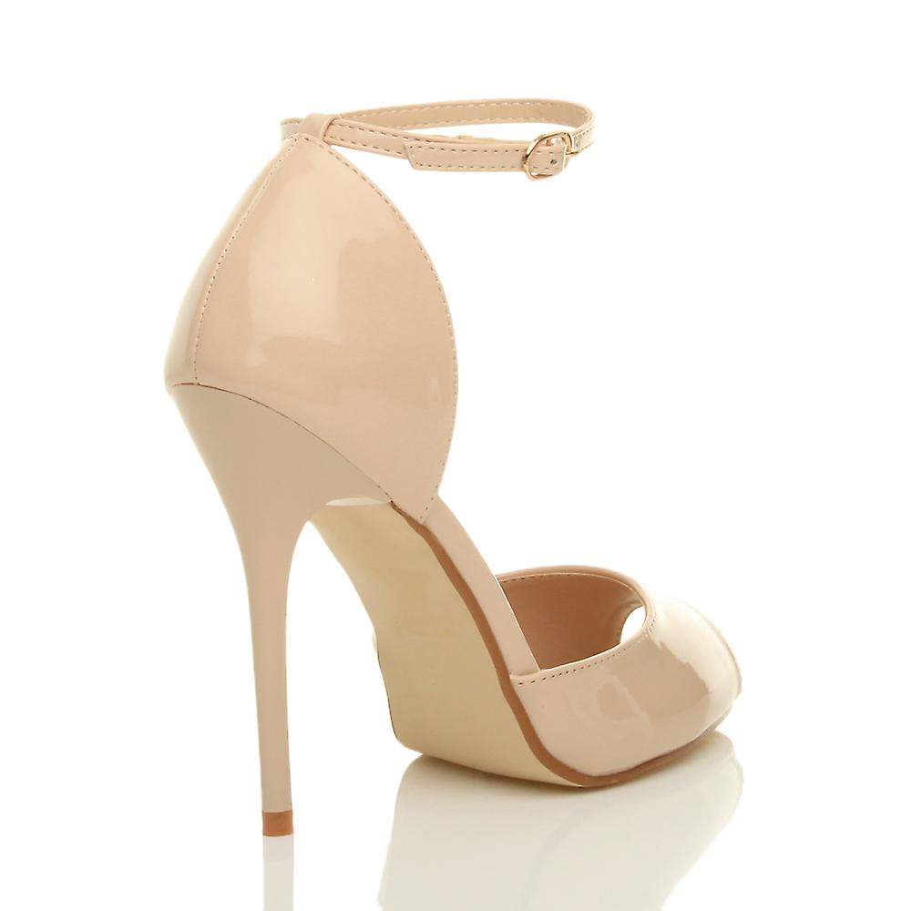 Ajvani womens evening party party party stiletto high heel ankle strap buckle sandals peep toe court shoes 66ebb6