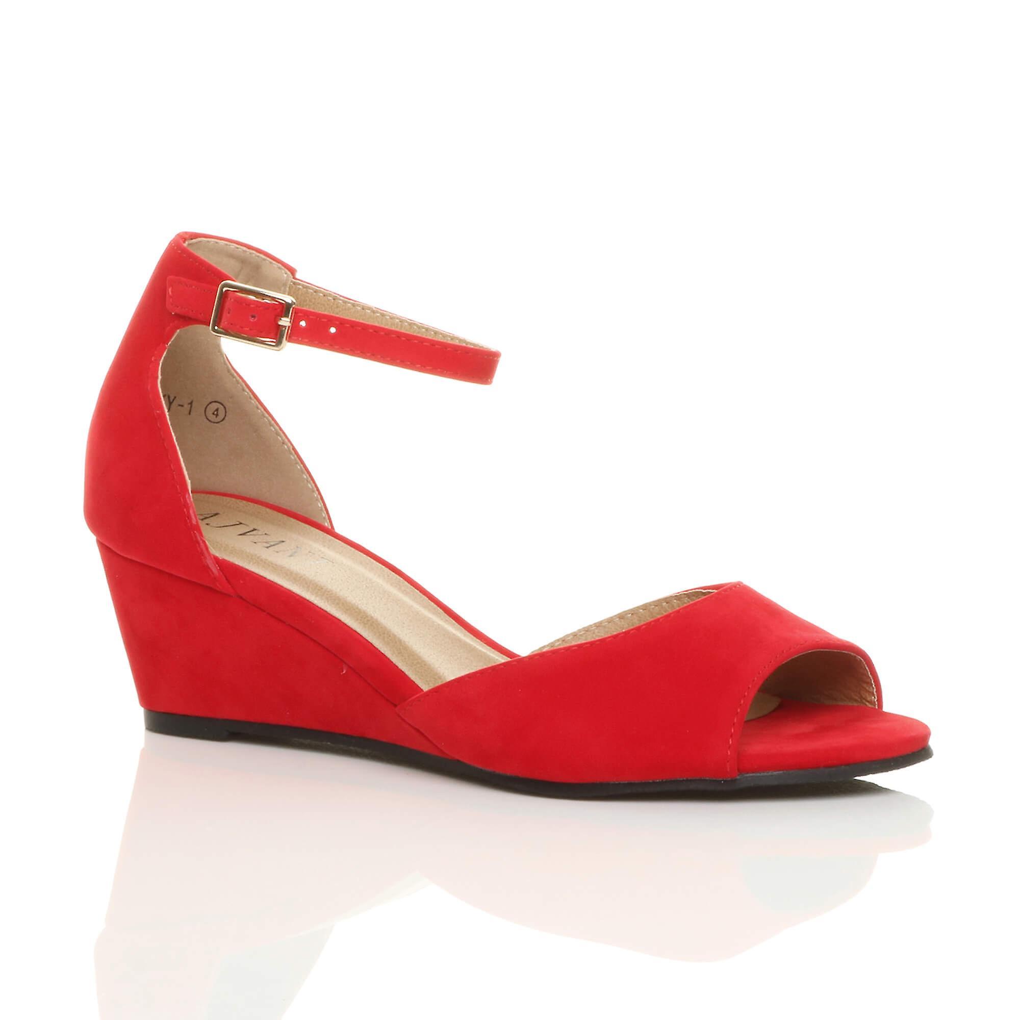 toe smart ankle wedge sandals Ajvani peep casual evening strap mid womens low heel S4wzRqY