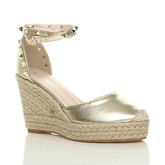 Ajvani womens high wedge heel studded ankle strap espadrilles shoes sandals