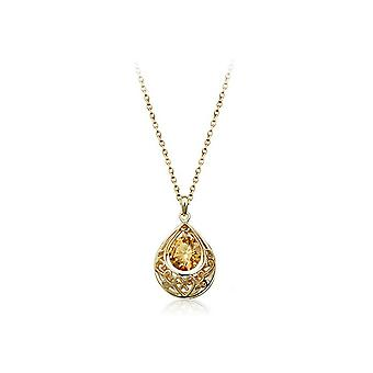 Gold and Champagne Hollow Teardrop Necklace Pendant