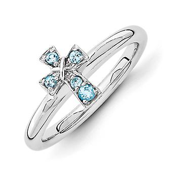 2.25mm Sterling Silver Rhodium-plated Stackable Expressions Rhodium Blue Topaz Cross Ring - Ring Size: 5 to 10