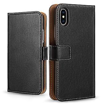 iPhone X реальные кожаный бумажник - черный