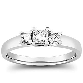 1/2 ct 3 石プリンセス カットのダイヤモンド リング 14 K ホワイトゴールド