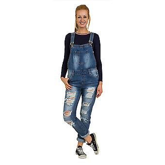 Womens Denim Dungarees - Loose Fit Destroyed Denim Bib Overalls Relaxed fit