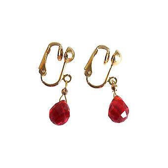 Brooch gold plated clip-on earrings red jade red jade