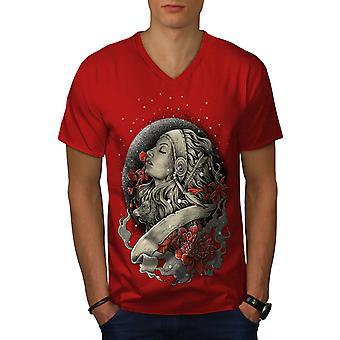 Schnee Rose Kuss Männer RedV-Neck T-shirt   Wellcoda