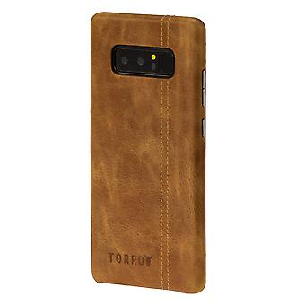 Samsung Galaxy Note 8 Tan Usa Leather Back Bumper Case
