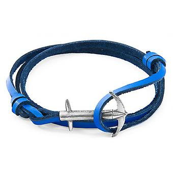 Anchor and Crew Admiral Silver and Leather Bracelet - Royal Blue