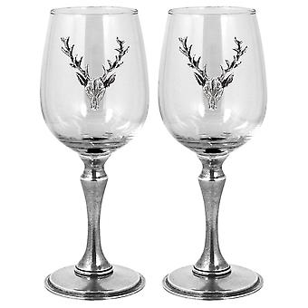 Stag Pewter Wine Glass 350ml - Set of 2
