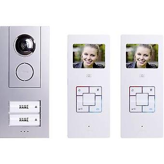 m-e modern-electronics Vistus VD6320 Video door intercom Corded Complete kit Semi-detached Silver, White