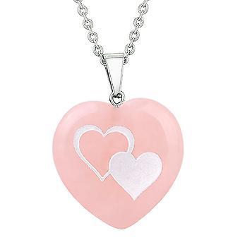 Amulet United Hearts Love Powers Protection Energy Rose Quartz Puffy Heart Pendant Necklace