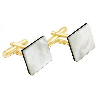 Gemshine - manschettknappar - guld pläterad - mor till pärla - vit - 16 mm