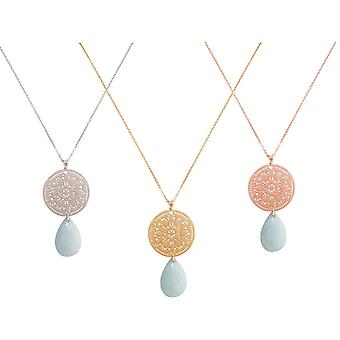 GEMSHINE ladies necklace with large aquamarine and mandala dream catcher. 60 cm long chain in 925 Silver, gold plated or gold plated rose. Made in Madrid / Spain. Quality of jewelry in a fine case.
