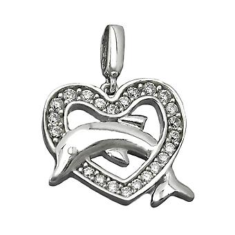 Silver Pendant heart glitter 925 Silver rhodium-plated with Dolphin of Zircons