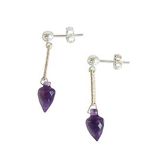 Ladies earrings 925 Silver Amethyst drop faceted purple 3 cm