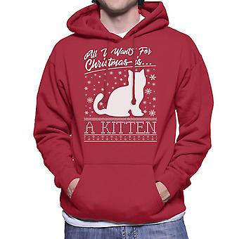 All I Want For Christmas Is A Kitten Knit Pattern Men's Hooded Sweatshirt