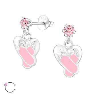 Hanging Ballet Shoes - 925 Sterling Silver Crystal Ear Studs - W32854x