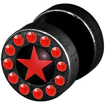 Fake Funky Cheater Ear Plug, Earring, Body Jewellery, Red Star with Stones