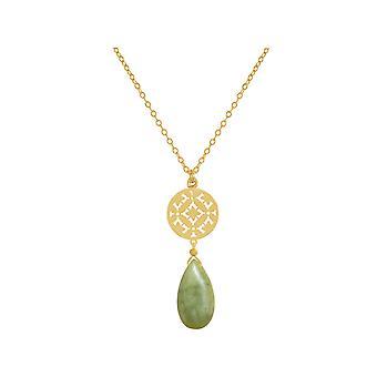 Colar de senhoras GEMSHINE com mandala e pedras preciosas de jade verde. Banhado a ouro pingente, prata, rosa ouro chapeado 60 cm de comprimento colar. Feita em Munique / Alemanha. Na caixa de presente elegante.