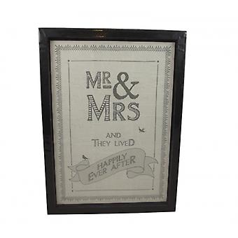 East of India Mr and Mrs Framed Wedding Day Gift
