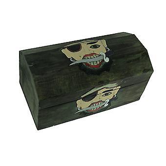 Geschnitzte hölzerne Swashbuckler Piraten Schatz Truhe Aufbewahrungsbox