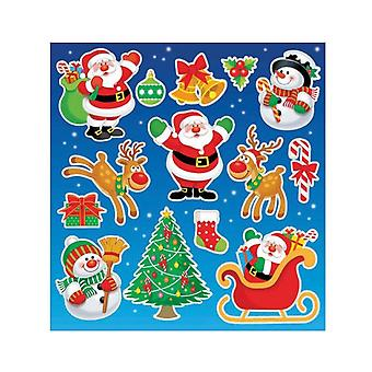 12 Santa and Snowman Sticker Sheets for Crafts & Party Bags