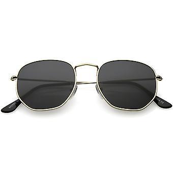Moderne Metal geometriske solbriller slanke arme Neutral flad linse 51mm
