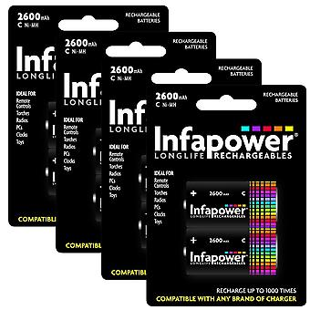8 x Infapower B005 Rechargeable C Ni-MH Batteries 2500mAh