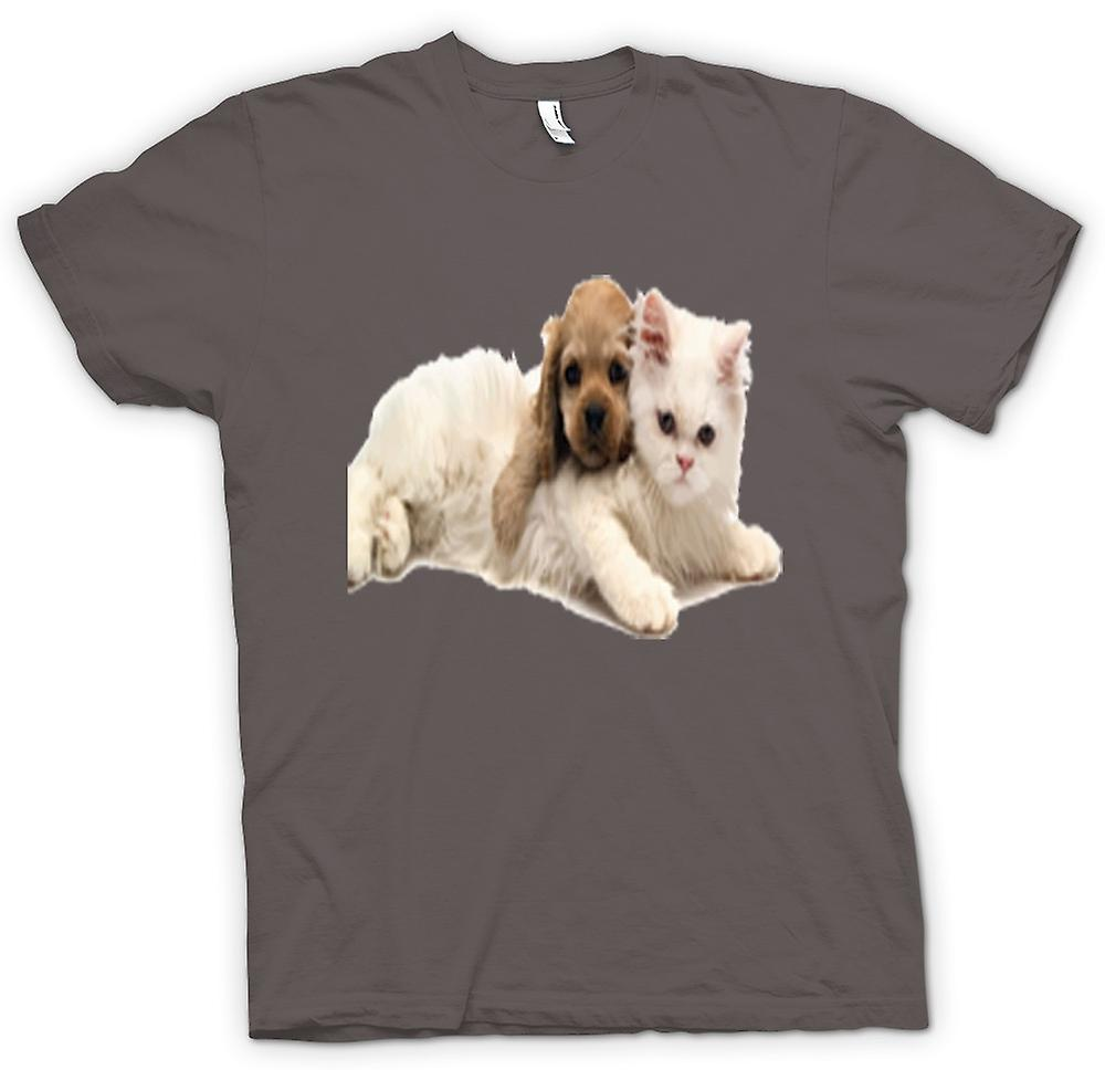 Womens T-shirt - Cute Cat And Dog Portrait