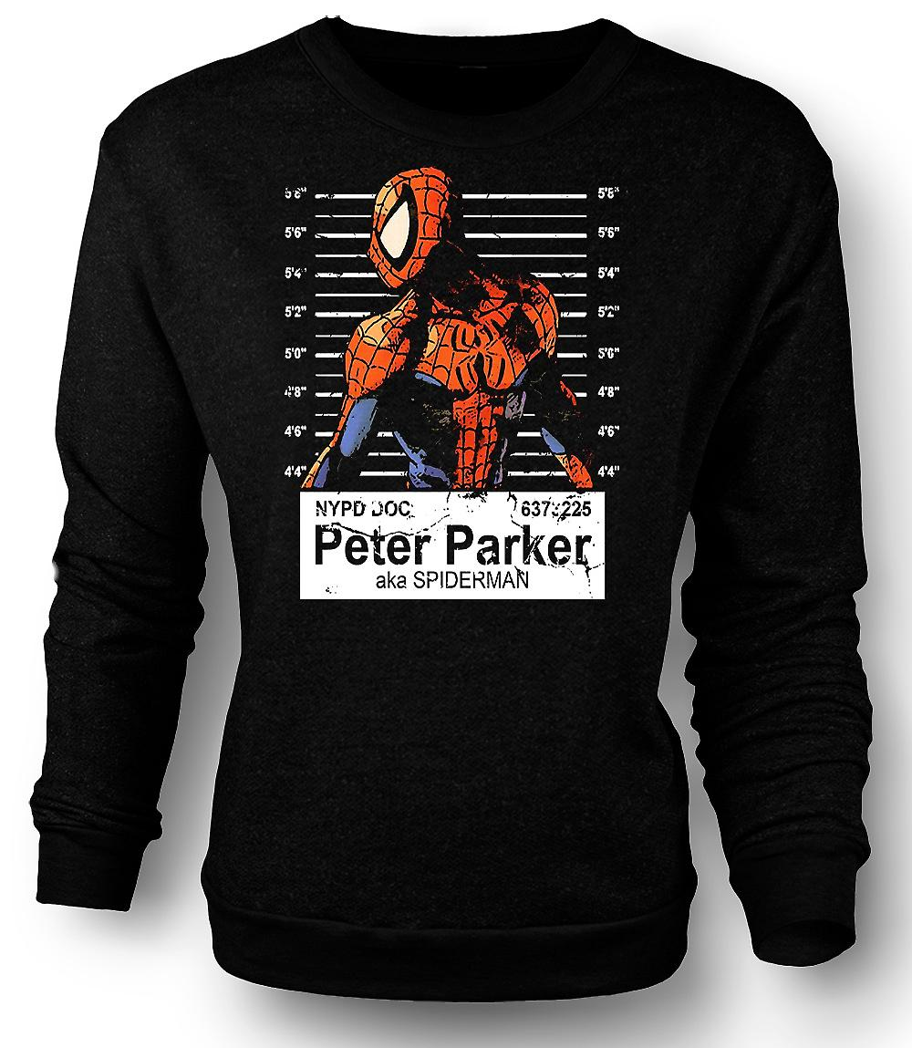 Mens Sweatshirt Spiderman - Peter Parker - krus skudd
