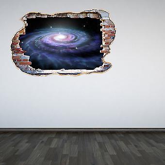 Полноцветный Галактика разбитые стены 3D эффект стикер стены