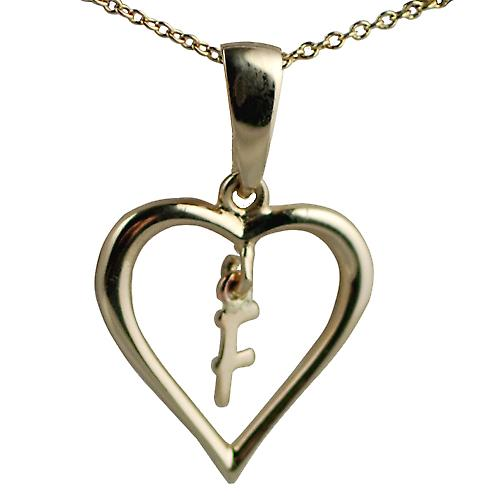 9ct Gold 18x18mm initial F in a heart Pendant with a cable Chain 18 inches