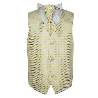 Boys Gold Wedding Waistcoat Cravat Hanky Set