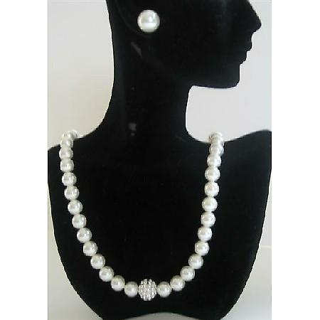 Wedding Party Jewelry Swarovski White Pearls Necklace w/ Stud Earrings