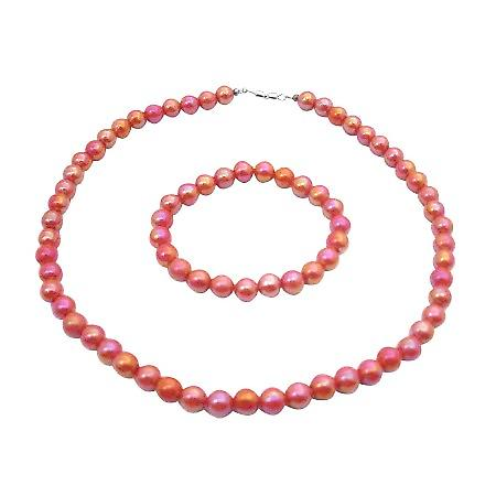 Pink Red Round 10mm Shinny Beads Necklace Stretchable Bracelet Gift