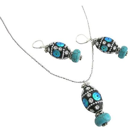 Jewelry For Christmas Holiday Kashmiri Lac Bead Pendant Earrings Set