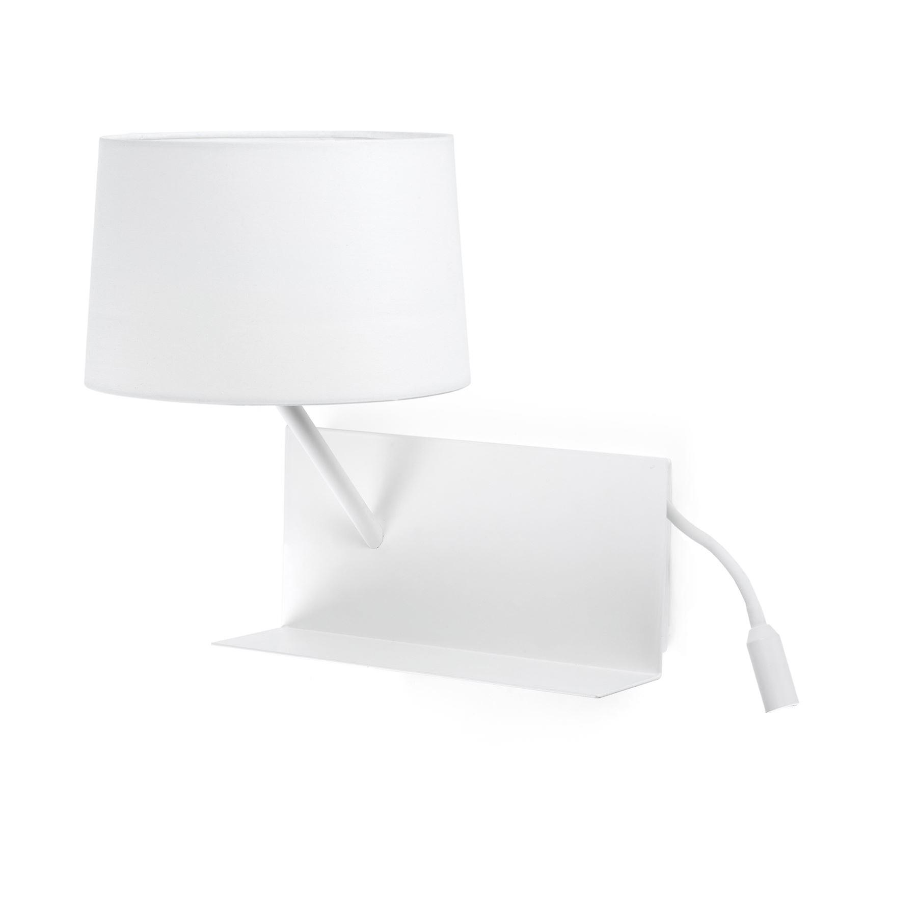 Faro - Handy blanc Wall Lamp With LED Reading Lamp & USB Charger Left Side FARO28415