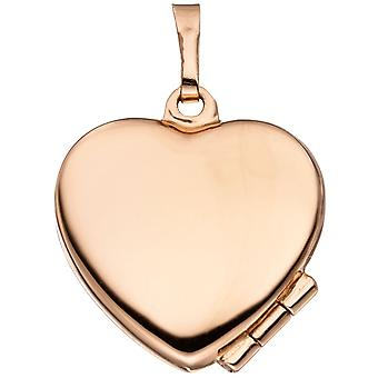 Locket heart for 2 photos 925 Silver rose gold plated pendant to open