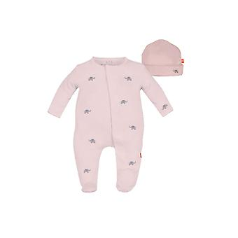 Magnetic Me™ by Magnificent Baby Cotton Darjeeling Elephant Footie & Hat Set