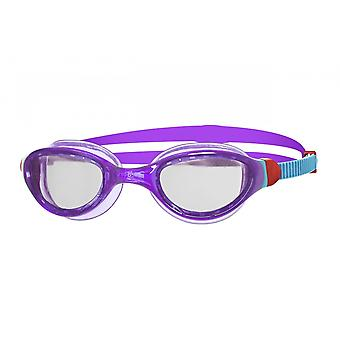 Zoggs Phantom Junior 2.0 Swimming Goggles - Clear Lens - Purple/Pink/Blue