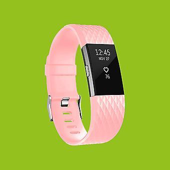 Für Fitbit Charge 2 Kunststoff / Silikon Armband für Männer / Größe L Rosa Uhr