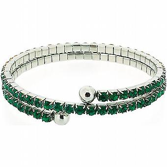 The Olivia Collection Double Row Green Glass Set Bangle