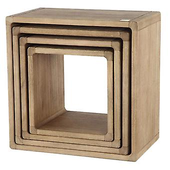 Wooden Hanging Display Cubes (Set of 4)